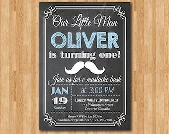 Little Man Mustache Birthday Invitation Chalkboard. Baby Boy Birthday Bash Invite. Blue. First 1st 2nd 3rd any age Printable digital DIY