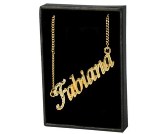 Name Necklace Fabiana - Gold Plated 18ct Personalised Necklace with Czech Rhinestones