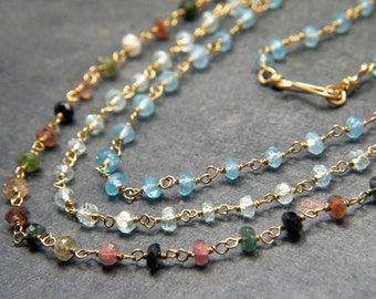Handmade Wire-wrapped Gemstone Chains w/ Genuine Apatite Aquamarine & Tourmaline Stones Layered Necklace - 3 Strand Boho Gemstone Necklace
