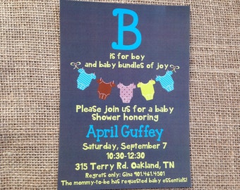 PRINTED or DIGITAL Grey Baby Clothes Line Boy Baby Shower Birthday Invitations 5x7 Customized Grey Clothes Line Boy Baby Design 0.82 each