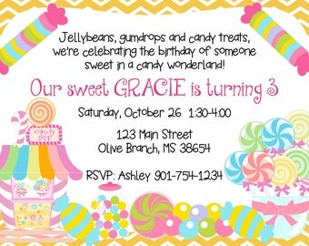 PRINTED or DIGITAL Chevron Candy Sweet Shoppe Birthday Invitations 5x7 Customized Candy Shop Invites Design 0.82 each