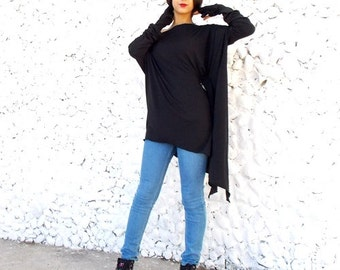 Black Top / Plus Size Loose Tunic / Maternity Top / Tunic Dress / Long Sleeved Top / Black Tunic TT04