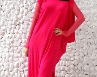 Pink Maxi Dress, Plus Size Dress, Asymmetrical Pink Caftan, Plus Size Caftan TDK78 by TEYXO