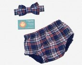 Baby Boy's Diaper Cover and Bow Tie - Navy, Burgundy, Hint of White and Yellow - P6