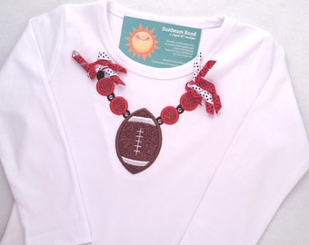 Girl's Football Red Necklace Top with Corker Ribbons and Bling - Customizable Colors