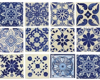 10 Large Blue & White Mexican or Spanish Style Tiles for Home Decor, Accent pieces or crafts