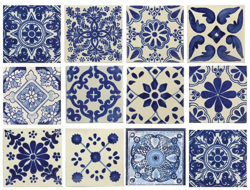 10 Large Blue White Mexican Or Spanish Style Tiles For Home