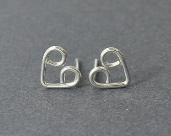 Sterling Silver Heart studs, Heart Earrings, Handmade
