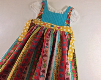 Girl's pinafore dress with the option of adding the peasant blouse