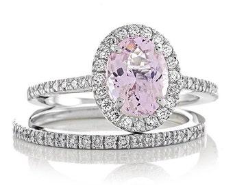 Morganite Engagement Ring 2ct Oval Pink Morganite .64tw Genuine Diamonds Engagement Wedding Band Set 14k White Gold Pristine Custom Rings