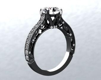 Black Gold Engagement Ring 14k Black Gold 7.0mm Forever One  Moissanite Center Genuine Diamonds EngagementWedding Ring Victorian Forever Lov