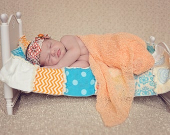 mini quilt, rag quilt, photo prop, newborn photo prop, layering quilt, quilt, baby wrap, orange mini quilt, patchwork min quilt