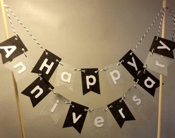 "Cake Bunting, ""Classy"" Happy Anniversary, Happy Birthday, Cake Topper, Paper banner"