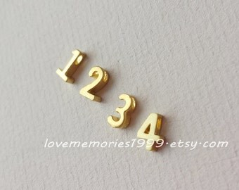 Matt Gold Plated, Gold Plated Number, Golden Number Bead, Date,Lucky number