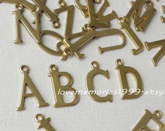 15mm brass Initial charms, Antique Golden letter charm , Personalized Initials charms, uppercase charms