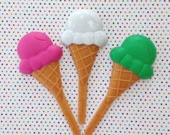 Neon Ice Cream Cone Cupcake Picks, 12 Cake Toppers