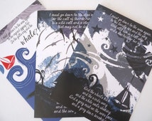 """Beautiful, contemporary John Masefield Poem """"Sea Fever"""" Inspired Greeting Cards x 3"""