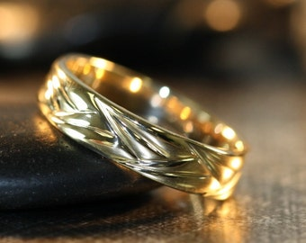 Unique Wedding Band For Him And Her In 14k Yellow Gold Comfort Fit Ring 5mm Plain