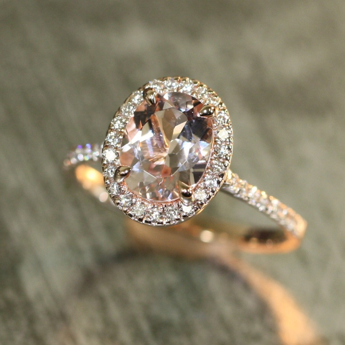 Halo Diamond And Morganite Engagement Ring In 14k By