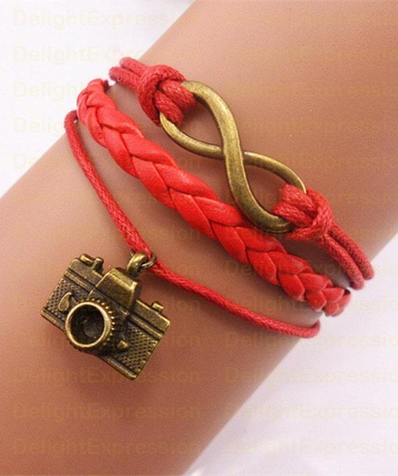 Infinity armband Camera Armband Beste Vriendschap Gift Wax Rope Bracelet Charm Bracelet