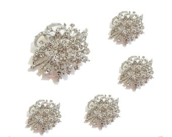 5x Wedding Brooches, Bridal Rhinestone Crystal Flower Brooch Pin, Bridal Brooch, Wedding Brooch, Bridal Rhinestone Brooch BR0002