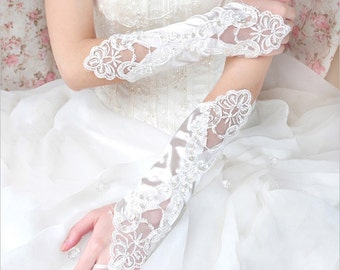 Bridal Gloves, White Long Fingerless Lace Beaded Gloves, Wedding Gloves, Wedding Accessory BG0010