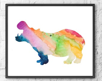 Hippo Watercolor Painting Watercolor Art Print Animal Art , Home Decor, Kids Room Decor, Kids Art Print, Children Art - 211