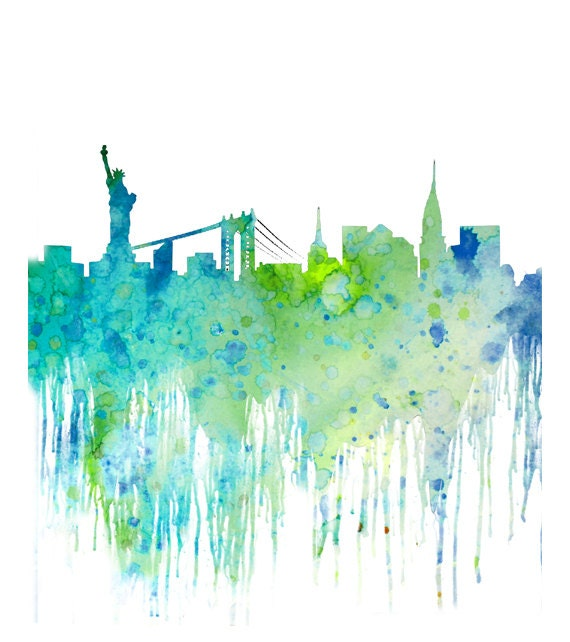 New York Cityscape Watercolor Art Print Skyline By Thenobleowl