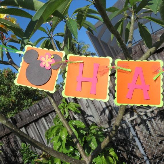 Minnie Mouse Luau Plumeria Happy Birthday By MonkeyLimeStudios