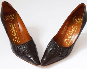 Debutantes by Dolcis vintage 50's Chocolate Brown Leather shoes pumps stilettos high heels