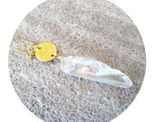 SALE!! Angel necklace / handmade dainty gold necklace / crystal quartz / gold disc (stamped or plain)