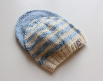 Newborn knitted baby hat / Hand knitted baby hat / knit baby hat / Merino wool baby hat / baby boy hat
