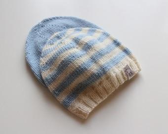 Baby hat / knit baby hat / hand knit baby hat / Merino wool baby hat / baby boy hat