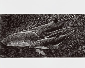 "WHALES Engraving - ""Mother and Calf"" - Limited Edition Letterpress Print"