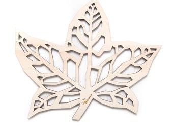 Wooden trivet  - Maple leaf.  For fruit or hot pan, dishware. Or wooden table decor.