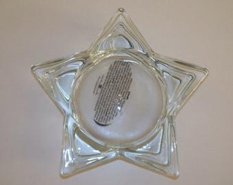 Home Interior Glass Star Pillar Candle Holder Vintage
