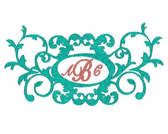 Machine embroidery design large ornate monogram frame