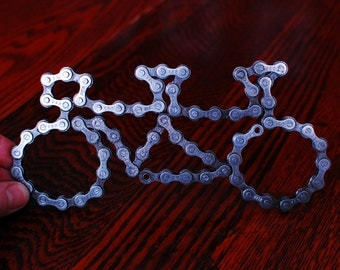 UpCYCLEd bike chain: Tandem Bike Sculpture Desk/wall art