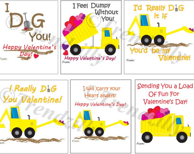 I Dig You! Dump Truck and Backhoe Kids Valentines, Construction Valentines, Valentine's Day, Boy Valentines, Printable Instant Download.