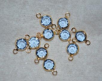 10 - 6mm Genuine Vintage Swarovski Crystal Channels with gold loops - Lt Sapphire (2040532)