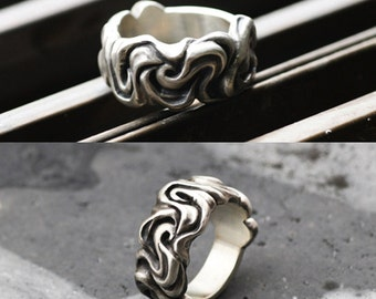 925 Sterling Silver Flame Pattern Ring By Moon Silver