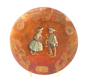 Vintage Peru Folk Art Round Copper Plate / Wall Hanging