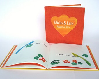 Bruiloft gastenboek met knipkunst illustraties. Huwelijks gastenboek. Gepersonaliseerd, Oranje-rood