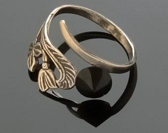 Jewelry Ring Sterling silver ring Adjustable dimension ring Gemstone black oniks
