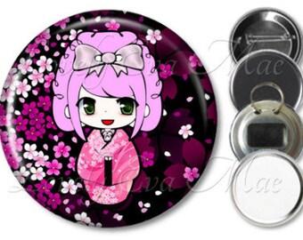 Kokeshi Doll Mirror, Kokeshi Doll Refrigerator Magnet, Bottle Opener Key Ring, Pin Back Button, Compact Mirror, Kokeshi Key Chain, Japanese