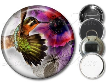 Pocket Mirror, Magnet, Bottle Opener Key Ring, Pin Back Button, Hummingbird