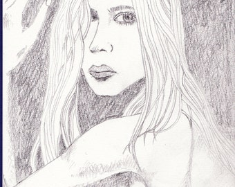 Original Drawing 'Girl D' by John Bliss 2014