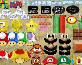 Super Mario Brothers Photo Booth Props + Decor - Bumper Pack 45 items! Mario + Luigi Hats, Moustache ++ more INSTANT DOWNLOAD DIY Printable