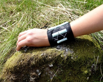 Handmade Upcycled Leather and Polymer Clay Cuff.