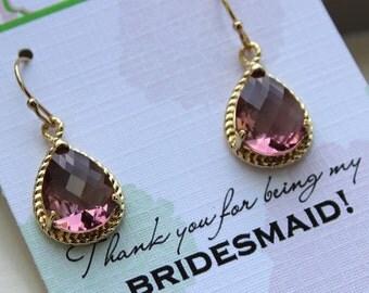Gold Eggplant Earrings Wedding Jewelry Purple Plum Bridesmaid Earrings Bridesmaid Gift Eggplant Wedding Jewelry Personalized Gift Under 25